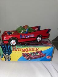 Vintage Tin Toy Batmobile Batman And Robin Battery Operated Red 1970 Works Kh
