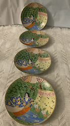 Japanese Porcelain Little Plates Set Of 4 Hand Painted Vintage Preowned