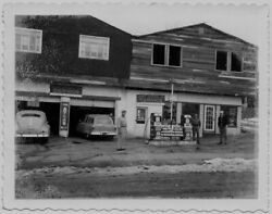Old Polaroid Photo Men Standing In Gas Station Gas Pumps Oil Cans Signs 1950s