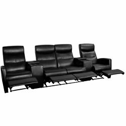 4-seat Manual Reclining Leathersoft Theater Seating Unit Black Modern And Contempo