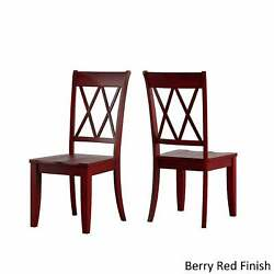 Eleanor Berry Red Farmhouse Trestle Base 6-piece Dining Set Berry Red Chairs And