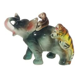 Vintage Porcelain Circus Elephant Made In Japan Monkey And Tiger Riding On Back