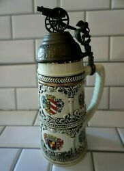 Vintage Ceramic Beer Stein Lion Holding Canon Metal Lid Multiple Coat Of Arms