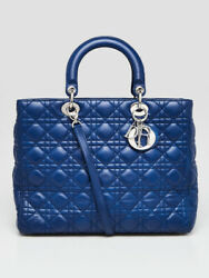 Christian Dior Blue Cannage Quilted Lambskin Leather Large Lady Dior Bag