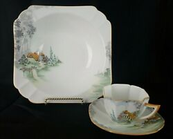 Shelley Bone China England Cup Saucer And Serving Bowl Queen Anne 11621 Cottage