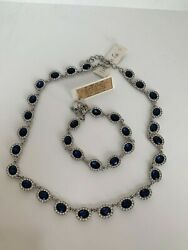Charter Club Blue Crystal Collar Necklace, 17+ 2 Extender And Bracelet 74 New