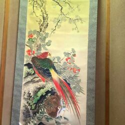 Japanese Painting Hanging Scroll Bird-and-flower Pheasant Asian Antique Qgw