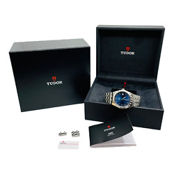 Tudor Rolex Royal Blue Roman Numeral Dial Stainless Mens Watch 28500 W/ Box