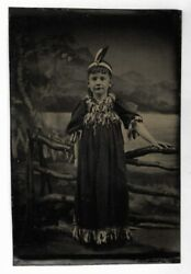 Antique Child In Native American Costume Photo Orig. Tintype Theatrical Indian