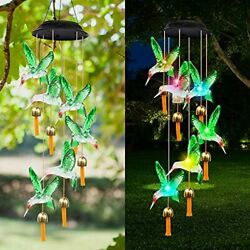 Wind Chimes For Outside Hanging Solar Hummingbird Wind Chime With Bells Led Colo