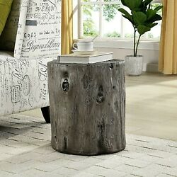 Rustic Faux Wood Log Stump Side Accent Table, Gray Farmhouse Plant Stand, Hollow