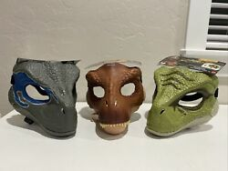 Jurassic World Mask Set Of 3 Trex And Velociraptor Dino Rivals Movable Jaws