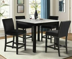 5pc Counter Height Dining Set Black Color Faux Marble Square Table And 4 Chairs