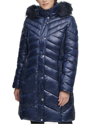 Kenneth Cole Navy Blue Faux Fur Hood Puffer Long Coat B5115 Womanand039s Size Medium