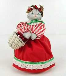 Vintage 1988 Schmid Kitty Cucumber Musical White Christmas Doll Cat Claus