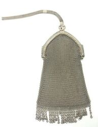 Rare Antique Womenand039s Handmade Sterling Silver Mesh Coin Purse