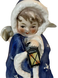 Goebel Christmas Figurine Angel In Blue Cape Hand Painted Marked1958 Small 3 X 2