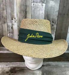 Vintage John Deere Woven Straw Hat Made In The U.s.a Embroidered Logo Green Band