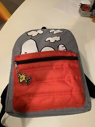 Peanuts Snoopy Backpack With Woodstock Keychain In Great Condition Free Ship