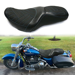 Driver Passenger Seat For Harley Touring Street Glide Road King 1997-2006 Blue