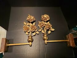Antique Early Electric Pair Brass Tole Rose Sconces