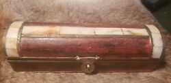 Vintage Wood Box With Real Antler Inlay /brass Hardware One Of A Kind Vert Old