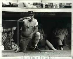 1987 Press Photo Lou Pinella in Dugout at Yankee and Cleveland Game cvb69564