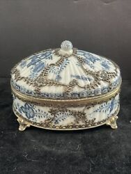 """Meissen 18th Century Box With Silver Overlay 4"""" H X 5.5"""" W"""