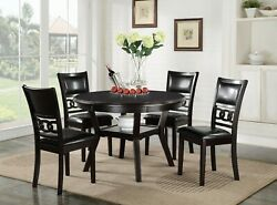 5pc Dining Set Unique Ebony Color Storage Table And 4 Chairs Padded Seatbacks