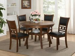 5pc Dining Set Unique Brown Color Storage Table And 4 Chairs Padded Seatbacks