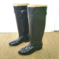 Thom Brown Womens 8 Black Leather Knee-high Boots Riding Vintage 1980s Eu38.5