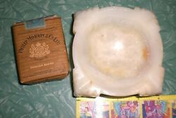 Vintage Large Onyx Marble Cigarette Ashtray Catchall Table Decor -see Pictures