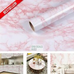 Pink White Marble Contact Paper For Countertops Cabinets Peel Stick Vinyl Film