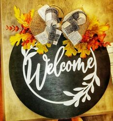 Farmhouse Welcome Fall Front Door Wreaths Rustic Decor Round Wood Hanger Sign...