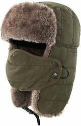 Connectyle Warm Trapper Hat Windproof Winter Russian Hats, Army Green, Size