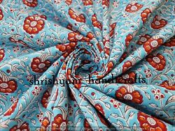 Block Print Fabric Sold By Yard Floral Print 100 Cotton Light Weight Soft