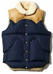Rocky Mountain Feather Bed Men's Down Vest Size 38 Navy X Brown Japan Used