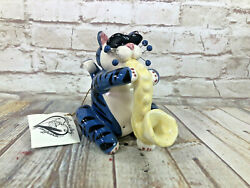 Whimsi Clay Cats By Amy Lacombe Shades Sax With Sitting Cat Figurine 23354new