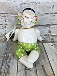 Whimsi Clay Cats By Amy Lacombe In Bathing Trunks Sitting Cat Figurine 23382new
