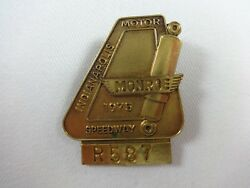 1975 Indy 500 Bronze/gold Tone Pit Badge Bobby Unser Gurney's All American Racer
