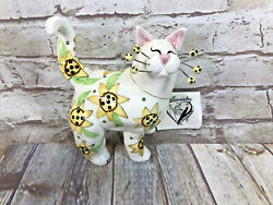 Whimsi Clay Cats By Amy Lacombe Sunflower Standing Cat Figurine 21028 New