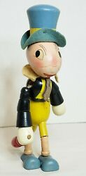 1938 Jiminy Cricket Wooden Jointed Doll Toy Walt Disney Ideal Toy Company 8.5