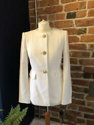 Zara White Textured Fitted Blazer Bnwt Small Gold Buttons