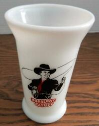 Rare 1950's Hopalong Cassidy Glass Breakfast Milk Tumbler Red And Black Ink - Mint