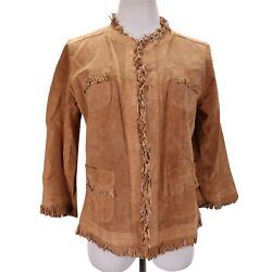 Chicos Suede Leather Fringe Jacket Size M 1 Tan Micro Perforated Open Front