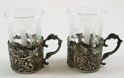 Antique German Silver Shot Glass Holders Cherubs Etched Crystal Glass Inserts