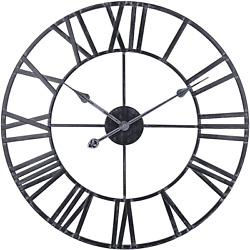 30 Inch Large Metal Wall Clock, Vintage Industrial Cut Out Open Face Roman Wall