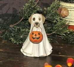 Primitive Antique Vtg Style Halloween Trick Or Treat Spooky Ghost Dog Resin