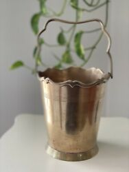 Epns Leonard Engraved Silver Plated 10 Vintage Pail With Decorative Handle