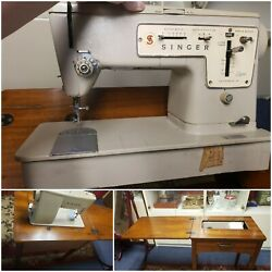 Singer Zig Zag Vintage Sewing Machine Model 457 And Wood Table Need Petal/cord